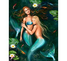 Beautiful fantasy princess mermaids in lake with lilies underwater background Photographic Print