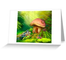 Fantasy mushroom cottage house on a colorful meadow Greeting Card