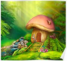 Fantasy mushroom cottage house on a colorful meadow Poster