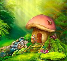 Fantasy mushroom cottage house on a colorful meadow Photographic Print