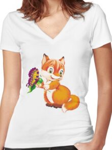 fox and butterfly Women's Fitted V-Neck T-Shirt