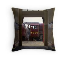 Steam Engine at Hellifield Throw Pillow