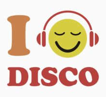 I love disco stickers with music happy face wearing headphones by Mhea