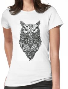 Intricate Owl Womens Fitted T-Shirt