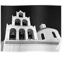 Santorini Church Bells ~ Black & White Poster