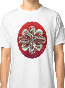 Cyan Bloom on Red Classic T-Shirt