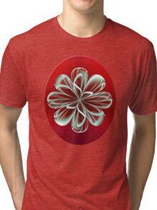 Cyan Bloom on Red Tri-blend T-Shirt