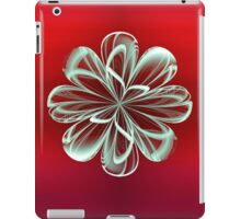Cyan Bloom on Red iPad Case/Skin