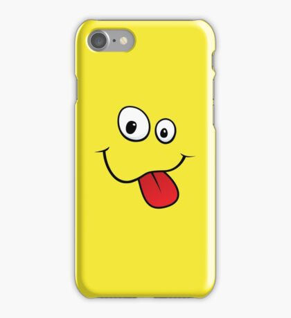 Silly teasing face sticking out tongue yellow iPhone case iPhone Case/Skin