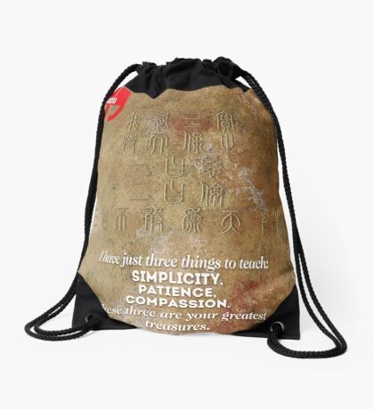The 3 Greatest Treasures (Laozi's Quote) Drawstring Bag
