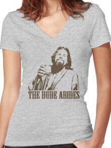 The Big Lebowski The Dude Abides T-Shirt Women's Fitted V-Neck T-Shirt