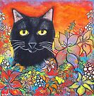 Black Cat and Flowers by Juli Cady Ryan
