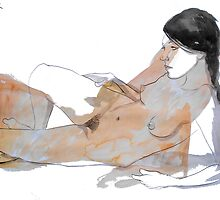 reclining nude by Loui  Jover