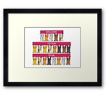Welcome to our team, cartoon cats. Framed Print