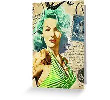 Vintage Rockabilly Inspired Pinup Greeting Card