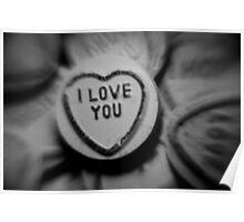 black & white....i love you...... love heart sweet Poster