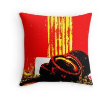 Corrugations in Red Throw Pillow