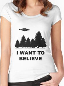 """I want to believe"" X Files Women's Fitted Scoop T-Shirt"