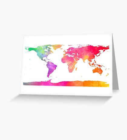 Watercolor World Map Greeting Card
