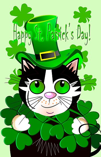 Happy St. Patrick's Day card with green eyed cat by walstraasart