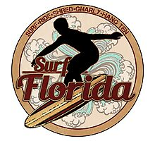 Surf Florida vintage surfboard logo Photographic Print