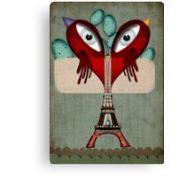 Paris Love Collection Eiffel Tower Birds in love Canvas Print