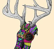 mayan deer skull dots by bluedesda