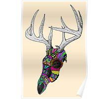 mayan deer skull dots Poster