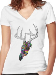 mayan deer skull dots Women's Fitted V-Neck T-Shirt
