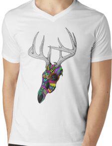 mayan deer skull dots Mens V-Neck T-Shirt