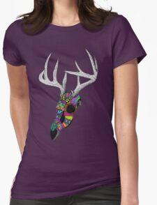 mayan deer skull dots Womens Fitted T-Shirt
