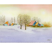 WINTER MORNING - AQUAREL by RainbowArt