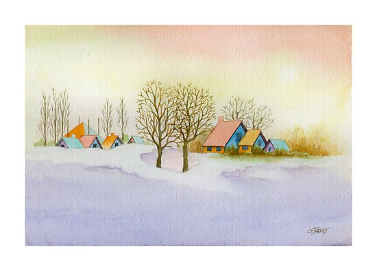 WINTER MORNING - AQUAREL by RainbowArt