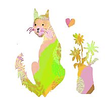 Cat and Flowers with Hearts Photographic Print