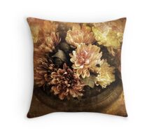 Bordered Mums Throw Pillow
