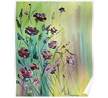 Original Acrylic Painting, Abstract Spring Flowers Pink and Purple Poster