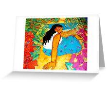 Tropical Flower Girl Greeting Card
