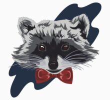 Red Bowtie Raccoon One Piece - Short Sleeve