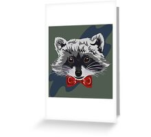 Red Bowtie Raccoon Greeting Card