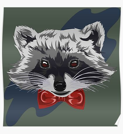 Red Bowtie Raccoon Poster