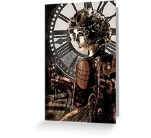 steampunk girl with clock Greeting Card