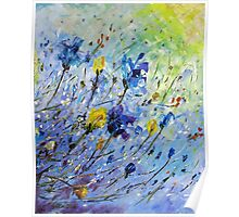 Original Acrylic Painting, Abstract Spring Flowers Blue and Yellow Poster