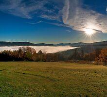Sunrise Over Ludlow Fog by Joe Jennelle