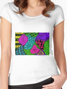 Rose in Green and Blue Women's Fitted Scoop T-Shirt