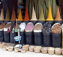 Spices at the Moroccan market - Essaouira, Morocco. by JustD