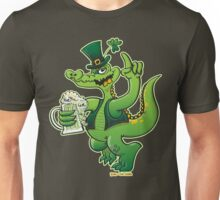Saint Patrick's Day Crocodile Drinking Beer Unisex T-Shirt