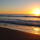 Sun Over Waves and Sitting on the Beach - Apollo Bay, Victoria by Heather Samsa