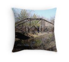 Wooden foot bridge Throw Pillow