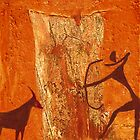 Prehistoric hunting  - rock painting by Marlies Odehnal