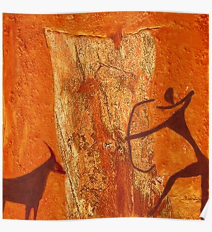 Prehistoric hunting  - rock painting Poster